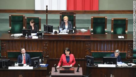 Representatives of the Life and Family Foundation with Kaja Godek takes part in the parliamentary debate on the abortion law at the Polish Parliament in Warsaw, Poland, April 15, 2020.