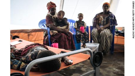 A girl affected by cholera is treated in a health center in Masisi, DRC on January 15, 2020.