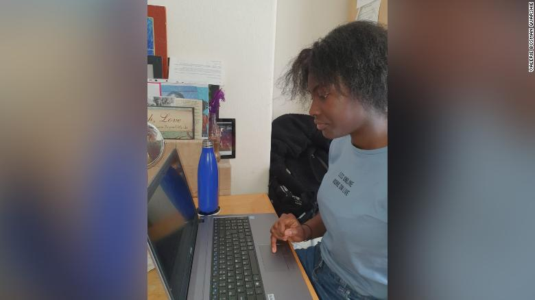 Theoni Bosman Quarshie works from home after the UK shut schools across the country.