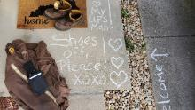 Brittany Rhynard, whose fiance drives for UPS, has set up a station outside their home where he leaves his gear after each shift.