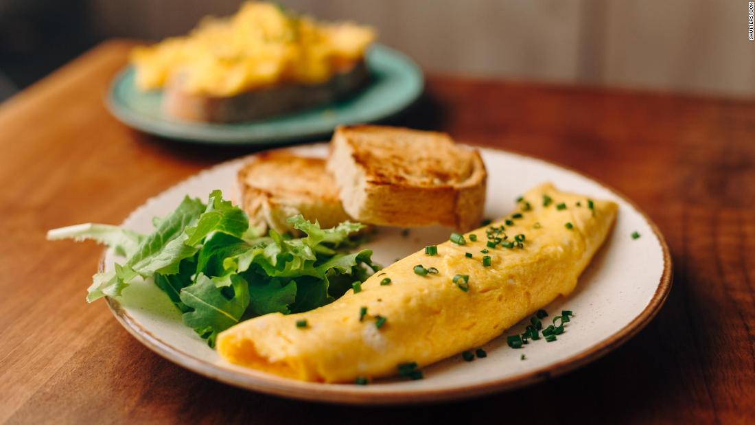 <strong>Omelet</strong>: Jacques Pépin's version of the French dish is made with fresh herbs and cooked in a whole lot of butter.
