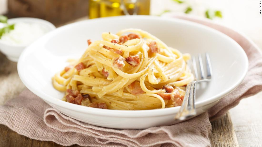 <strong>Carbonara</strong>: A dish with Roman roots, Carbonara is made with egg, cheese, cured pork, black pepper and pasta.