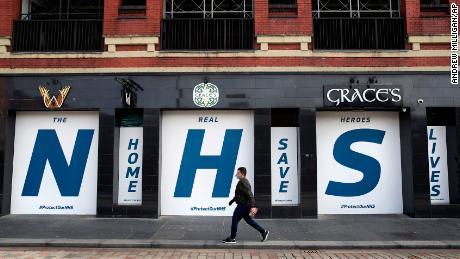 A shuttered bar in Glasgow pays tribute to Britain's National Health Service.