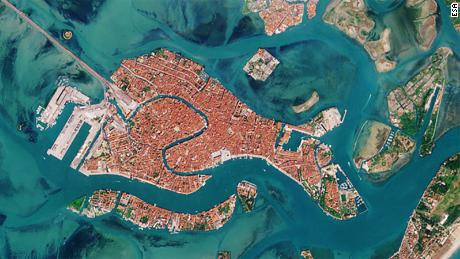Italy's efforts to limit the spread of the coronavirus have led to a decrease of boat traffic in Venice's famous waterways. This image captured on April 13, 2020, shows a distinct lack of boat traffic compared to the image April 19.