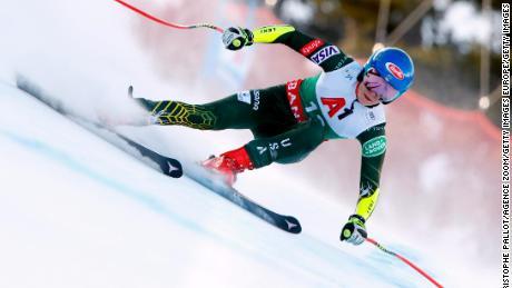 Shiffrin races in the Audi FIS Alpine Ski World Cup Women's Super G.