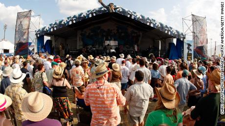 Fans at the New Orleans Jazz and Heritage Festival on May 1, 2008 in New Orleans, Louisiana.
