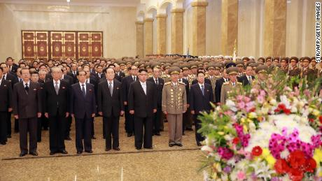 This April 15, 2017 picture released from North Korea's official Korean Central News Agency shows North Korean leader Kim Jong Un visiting the Kumsusan Palace of the Sun in Pyongyang to celebrate the 105th birth anniversary of late President Kim Il Sung.