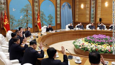 This photo provided by the North Korean government on Sunday purports to show North Korean leader Kim Jong Un, center top, attending a politburo meeting of the ruling Workers' Party of Korea in Pyongyang on Saturday.