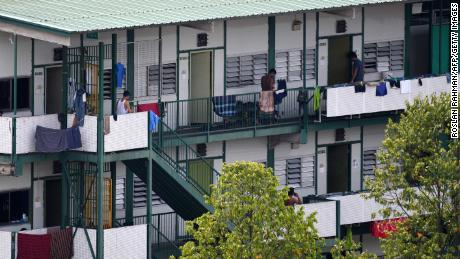 The balcony of a migrant worker dormitory, now locked down, in Singapore on April 17.