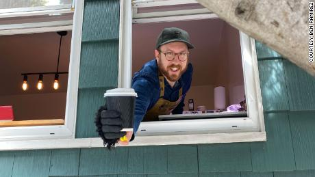 A California man is handing out free coffee to essential workers -- from his kitchen window