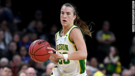 Sabrina Ionescu brings the ball up the court against Stanford in the Pac-12 Conference title game on March 8.