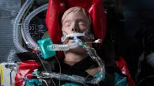 A medical mannequin wears a ventilator in a military exercise on April 9 in Andover, England.