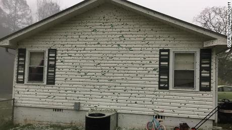 Shaina Scott said the hail had punctured holes in the side of her house in Alexander City, Alabama, on Sunday, April 19, 2020.