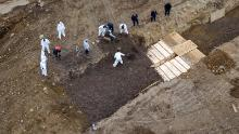 Drone pictures show bodies being buried on New York's Hart Island.  REUTERS/Lucas Jackson/File Photo