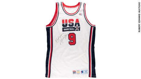 A jersey worn and signed by Michael Jordan sold for over $200,000 at auction.