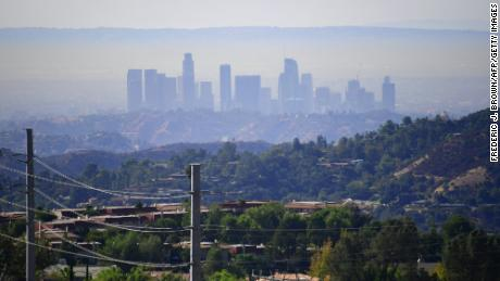A layer of pollution hovers over Los Angeles, California, on October 17, 2017. Even though air quality has improved in recent decades, smog levels remain among the nations's worst.