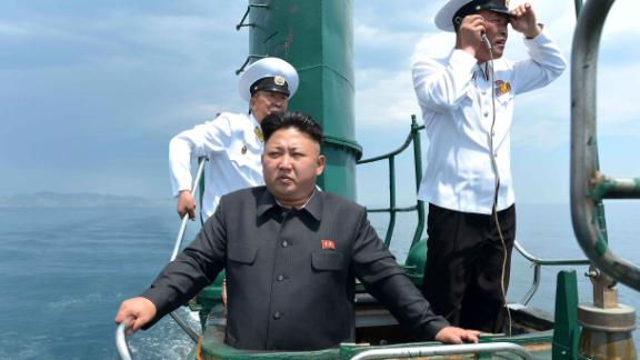 Kim inspects a submarine in this undated photo released by North Korea