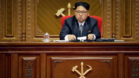 North Korean leader Kim Jong Un listens during the congress of the ruling Workers