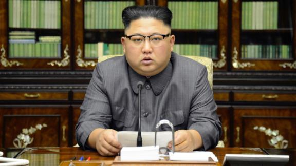 "In this September 2017 photo distributed by the North Korean government, Kim delivers a televised statement and accuses US President Donald Trump of being ""mentally deranged."" Kim"