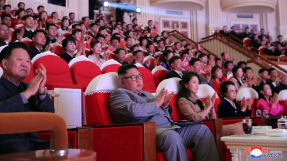 Kim and his wife watch a performance to celebrate the Lunar New Year in January 2020.