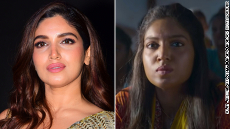 "Actress Bhumi Pednekar after and before her skin was darkened to portray her character in the 2019 movie, ""Bala."""