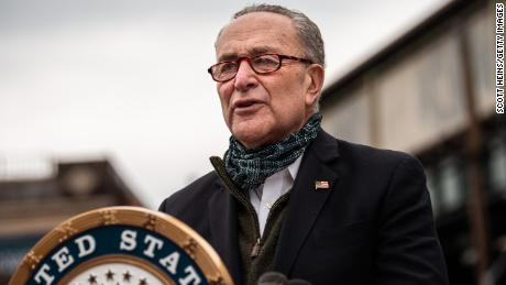 Senate Minority Leader Chuck Schumer (D-NY) speaks at a press conference at Corona Plaza in Queens on April 14, 2020 in New York City.