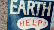 A banner at the inaugural Earth Day, New York City, 22nd April 1970. Earth Day is held annually to raise awareness of environmental issues.  (Photo by Archive Photos/Getty Images)