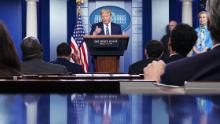 An aggrieved Trump blames press for furor over disinfectant comments as Birx defends him