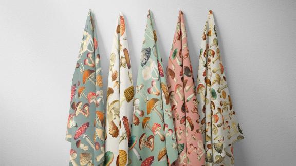 Mushroom Fabric Vintage Toadstools Designer Fabrics