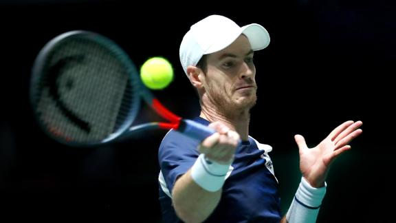 MADRID, SPAIN - NOVEMBER 20: Andy Murray of Great Britain plays a forehand shot during his Davis Cup Group Stage match against Tallon Griekspoor of the Netherlands during Day Three of the 2019 Davis Cup at La Caja Magica on November 20, 2019 in Madrid, Spain. (Photo by Clive Brunskill/Getty Images for LTA)