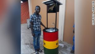 A solar-powered hand-washing basin encourages personal hygiene in Ghana amidst coronavirus