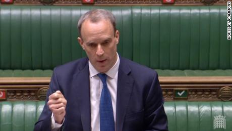 Dominic Raab standing in for Boris Johnson at the first ever virtual PMQs