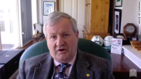 Scottish Nationalist MP Ian Blackford joined PMQs by video link.