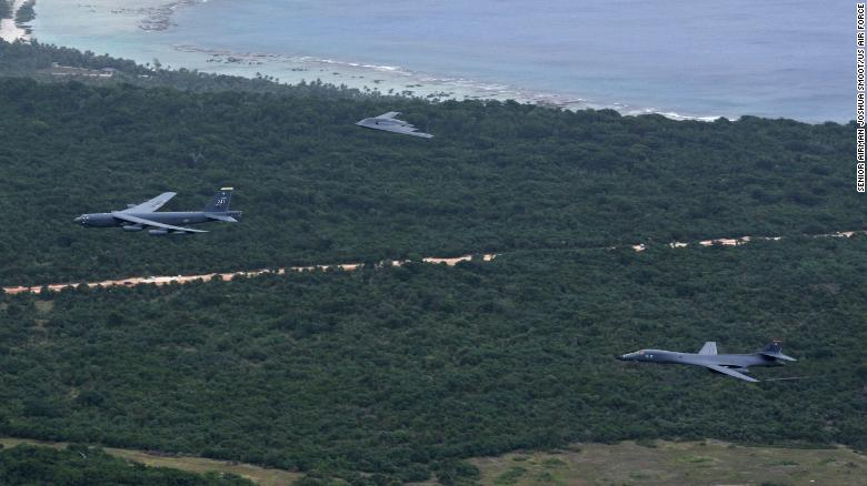 A US Air Force B-52 Stratofortress, B-1 Lancer and B-2 Spirit fly over Guam after launching from Andersen Air Force Base, Guam, for an integrated bomber operation Aug.17, 2016.
