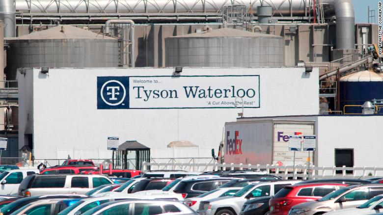 A Tyson Fresh Meats plant in Waterloo, Iowa. On Friday, April 17, 2020, more than a dozen Iowa elected officials asked Tyson to close the pork processing plant because of the spread of the coronavirus among its workforce of nearly 3,000 people.