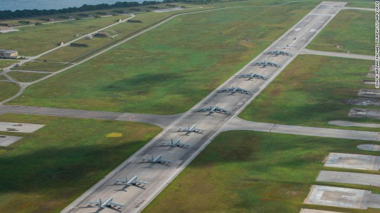 "US military aircraft stationed at Andersen Air Force Base, Guam, perform an ""Elephant Walk"" to showcase combat readiness on April 13, 2020."