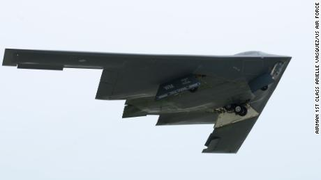 A US Air Force B-2 bomber takes off at Andersen Air Force Base, Guam, in 2016.