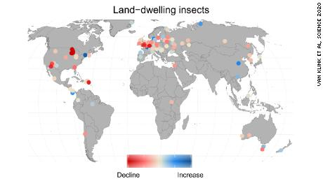 The colored dots represent the location and strength of decline or increase of insect population in the 166 data sets used in the study. Credit Van Klink et al, Science [2020]