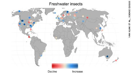 The colored dots represent the location and strength of decline or increase of insect population.