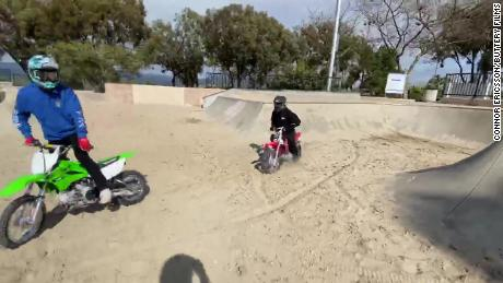 The dirt bikers, in action.