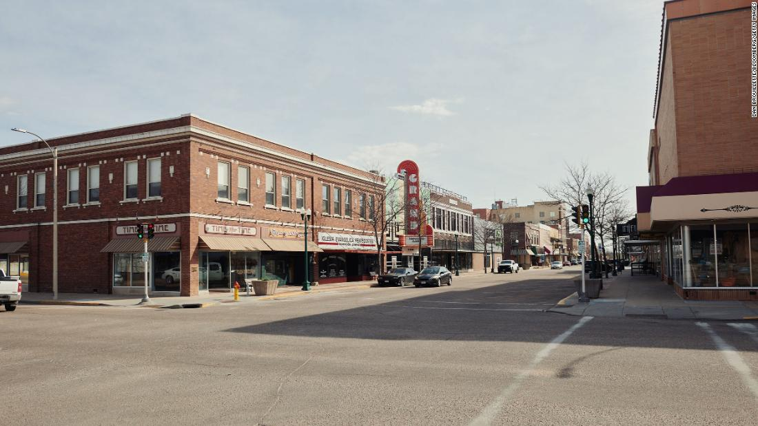 Streets stand empty in downtown Grand Island, Nebraska, U.S., on Wednesday, April 22, 2020. Hall county officials confirmed 61 new coronavirus cases, bringing the county's total to 560 in a state with 1,648 cases. Photographer: Dan Brouillette/Bloomberg via Getty Images