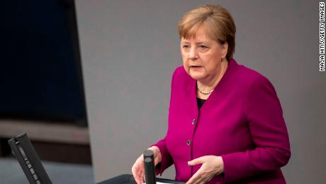 BERLIN, GERMANY - APRIL 23: German Chancellor Angela Merkel (CDU) speaks on behalf of the federal government at the Bundestag on April 23, 2020 in Berlin, Germany. Germany is still at the beginning of the coronavirus pandemic and will have to live with it for a long time, the Chancellor said. (Photo by Maja Hitij/Getty Images)