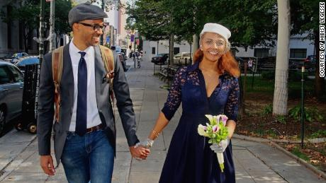 Dr. Rob Gore and Hibist Legesse in New York City on their wedding day in 2016. They first met at her Brooklyn restaurant.