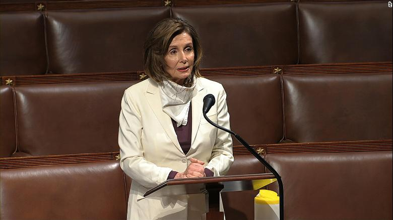 In this image from video, House Speaker Nancy Pelosi of California, speaks Thursday morning on the floor of the House of Representatives at the US Capitol in Washington.