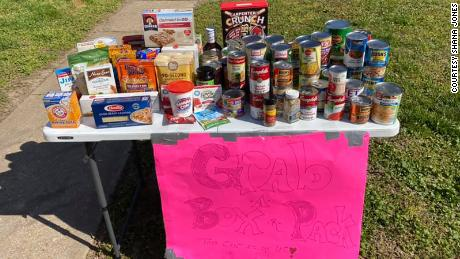 One of the tables outside Jones' home in Missouri that allows people to grab what they need during these difficult times of the coronavirus pandemic.