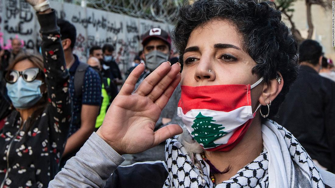 Protesters shout slogans against Lebanese Central Bank governor Riad Salamé as they block Hamra Street in Beirut, Lebanon, on April 23, 2020. Anti-government protesters were demonstrating in Beirut as they continued to endure one of the country's worst-ever economic crises.