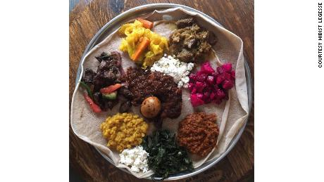 A platter of food at Hibist Legesse's New York restaurant, Bati Ethiopian Kitchen. The coronavirus pandemic has forced the restaurant's dining room to close, and Legesse is scrambling to get grants or loans to keep the business afloat.