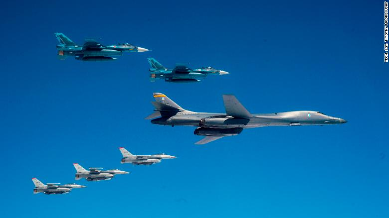 A US Air Force B-1 from Ellsworth Air Force Base, South Dakota, and US F-16 fighters from Misawa Air Base, Japan, conduct a bilateral joint training with Japan Air Self-Defense Force F-2s off the coast of northern Japan on April 22, 2020.