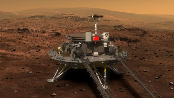 Concept illustration released on Aug 23, 2016 by the lunar probe and space project center of Chinese State Administration of Science, Technology and Industry for National Defence shows the concept portraying what the Mars rover and lander would look like. China