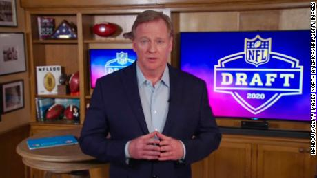 NFL Commissioner Roger Goodell announced teams' selections from a studio in the basement of his home in Bronxville, New York.